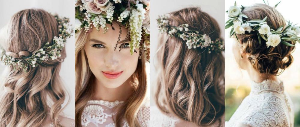 Свадебный венок на голову: аксессуар из живых цветов