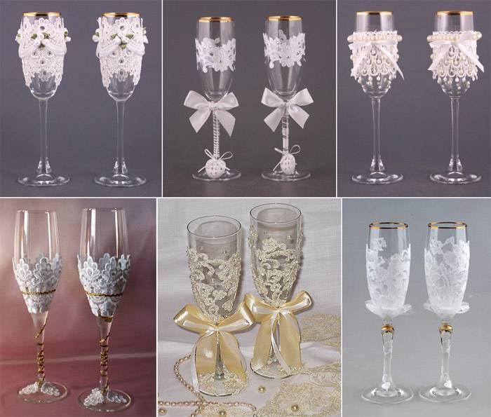 Свадебные бокалы своими руками (72 фото): идеи по украшению фужеров на свадьбу, пошаговый мастер-класс по оформлению бокалов для жениха и невесты