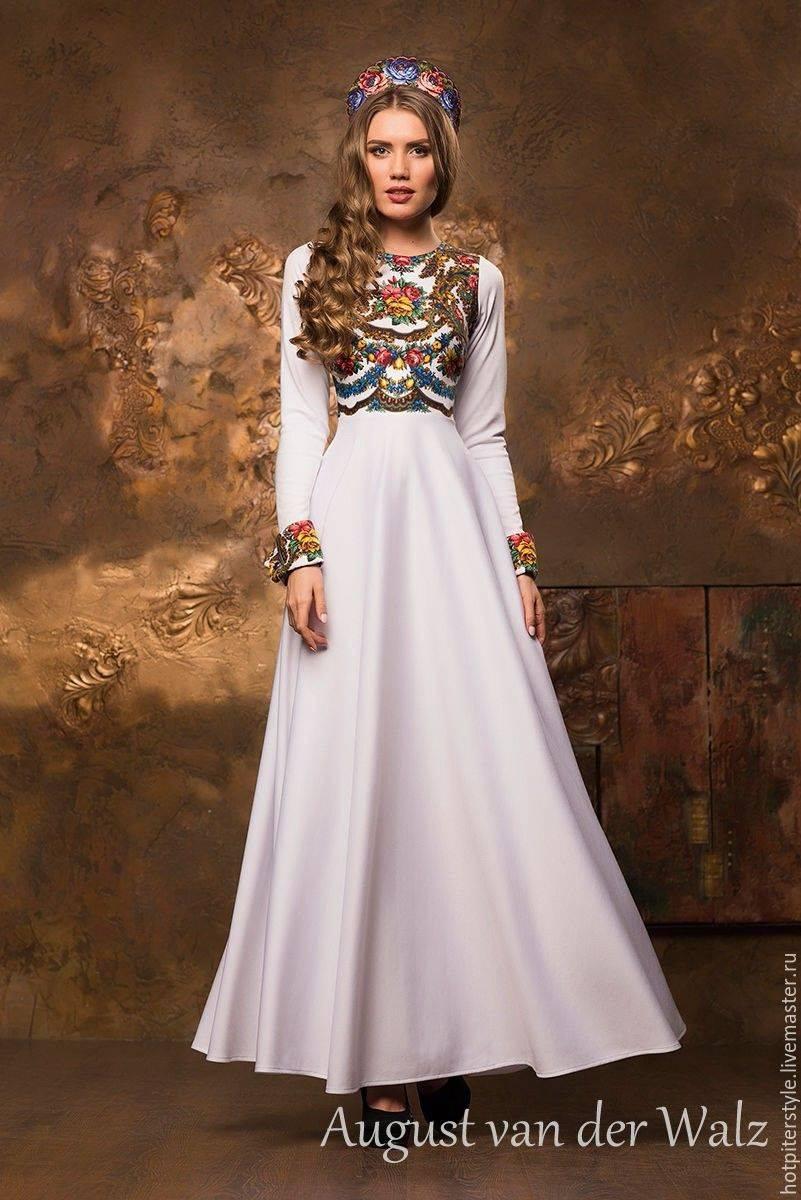 Свадебные платья в русском народном стиле (48 фото)