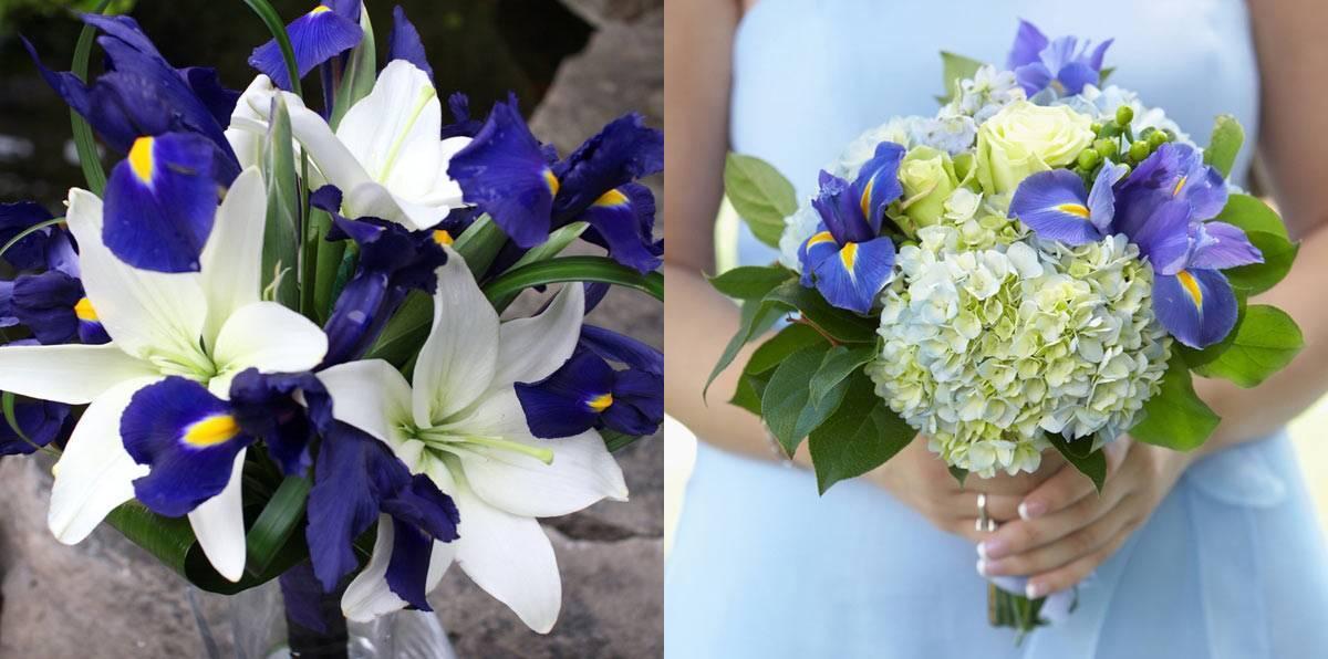 Синие цветы в букете