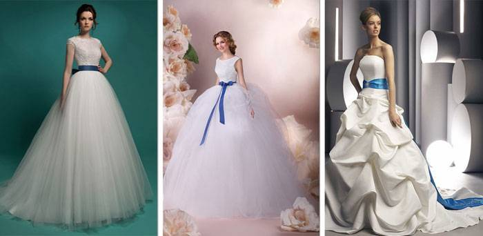 Синее свадебное платье: красивые фасоны и модели (фото)