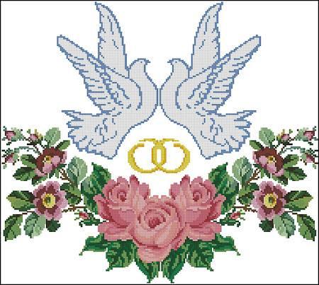 Свадебные голуби вышивка