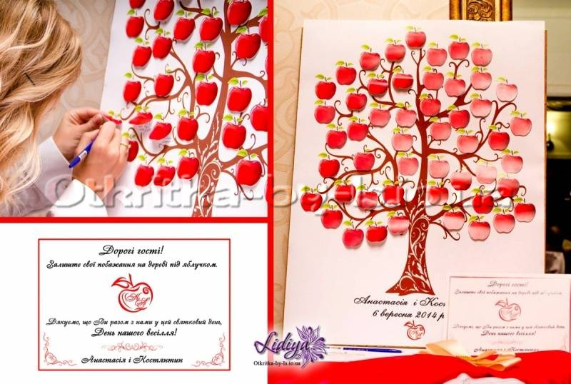 Дерево пожеланий на свадьбу: шаблоны и идеи