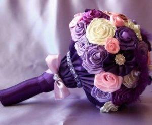 Свадебный букет из лент: изготовление своими руками и идеи оформления