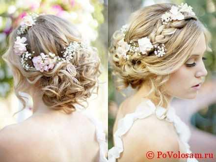 Модные свадебные прически на средние волосы: 166 фото