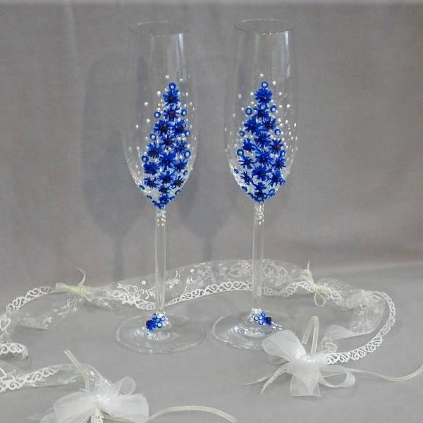 Оформление свадебных бокалов: выбор материалов, техники, мастер-классы