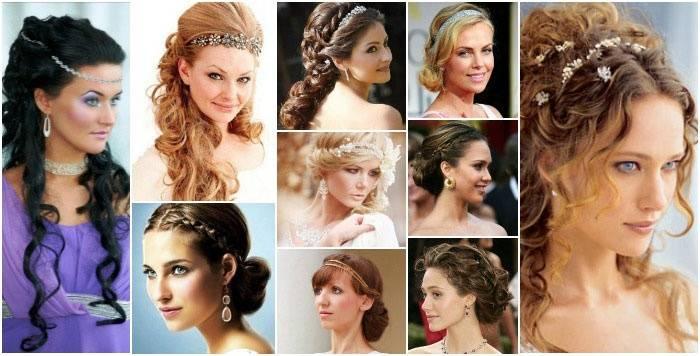 Свадебные прически в греческом стиле (77 фото): коса на бок на свадьбу на длинные и средние волосы с фатой