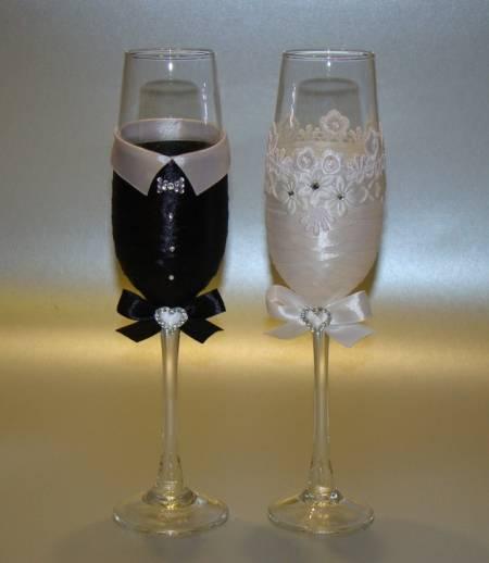 Как покрасить бокалы на свадьбу. свадебные бокалы своими руками, декор — фото примеров