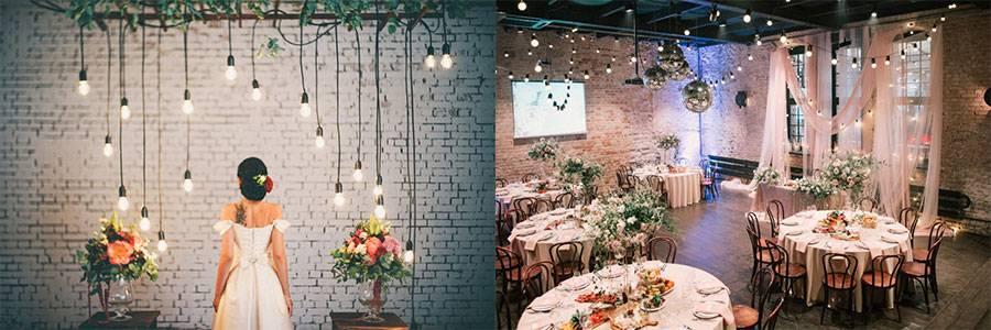 Украшение зала на свадьбу (86 фото): оформление свадебного банкетного помещения в стиле «рустик» и других