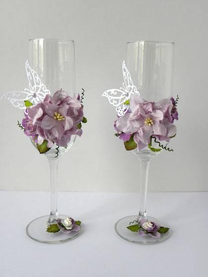 Свадебные бокалы своими руками, мастер-класс