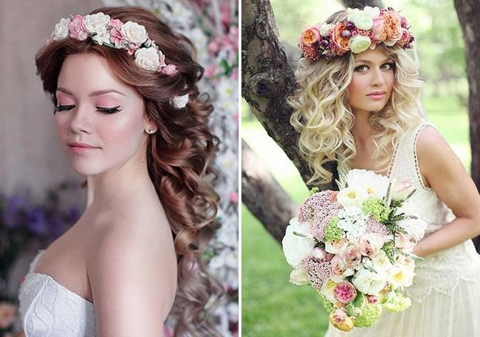 Свадебные прически с цветами — венки, идеи с косами, разные варианты вплетений + 98 фото