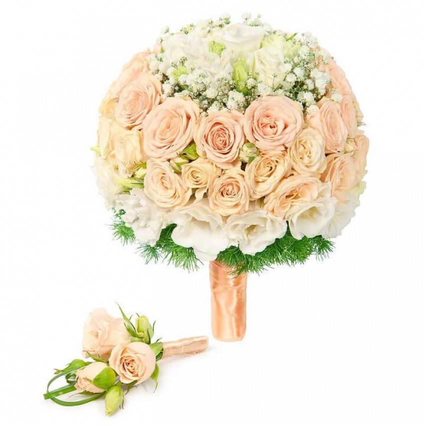 Свадебный букет невесты из эустомы