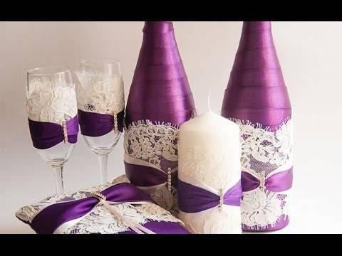 Бутылки на свадьбу своими руками  жених и невеста, идеи по украшению с лентами