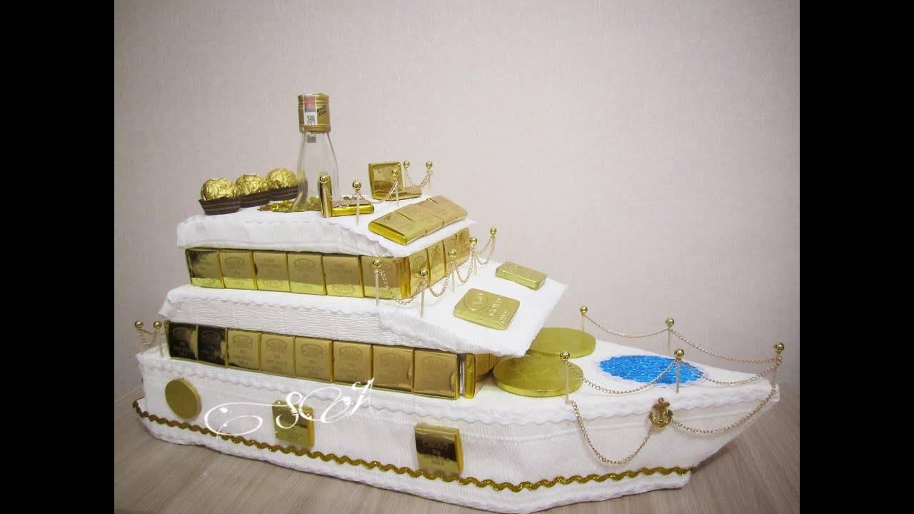 Мастер-класс свит-дизайн 23 февраля день рождения моделирование конструирование пиратский корабль с сюрпризом + мк много фото бумага бархатная бумага гофрированная пенопласт продукты пищевые