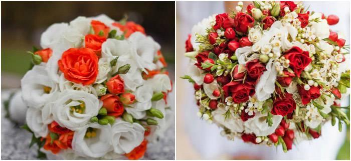 Свадебный букет невесты в красном цвете – фото
