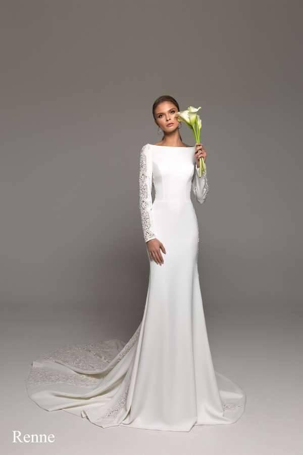Свадебное платье-футляр (53 фото): с кружевом, короткое, миди