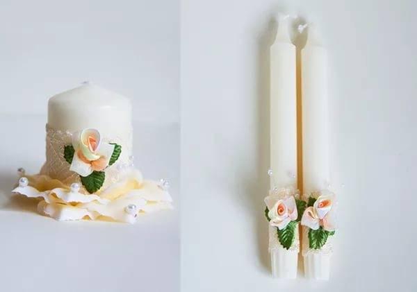 Как украсить свечи на свадьбу своими руками (фото)