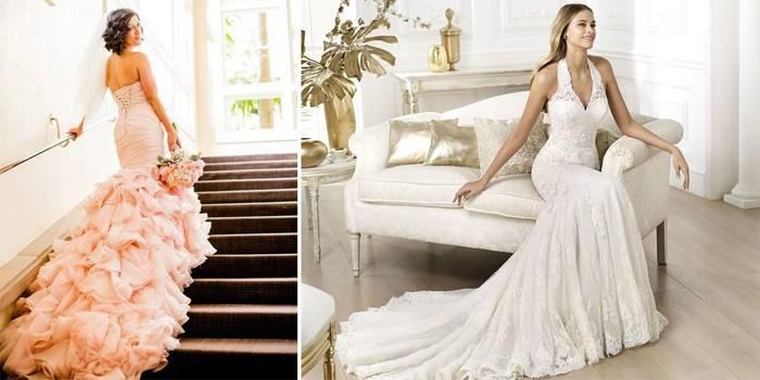 Правила современных невест: свадебные платья короткие со шлейфом