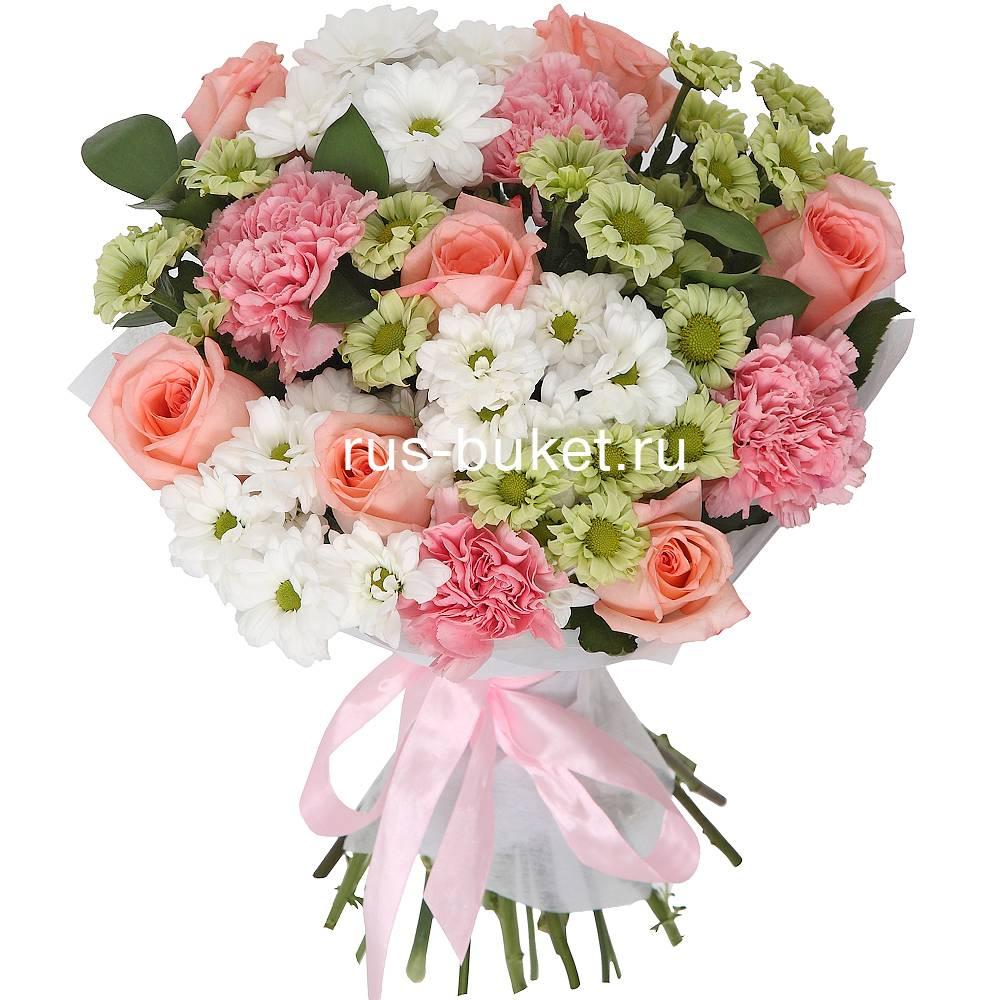 Изысканный свадебный букет невесты из роз и хризантем