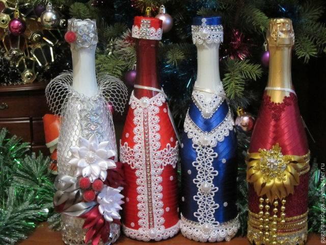 Оформление бутылок на свадьбу: декор шампанского своими руками