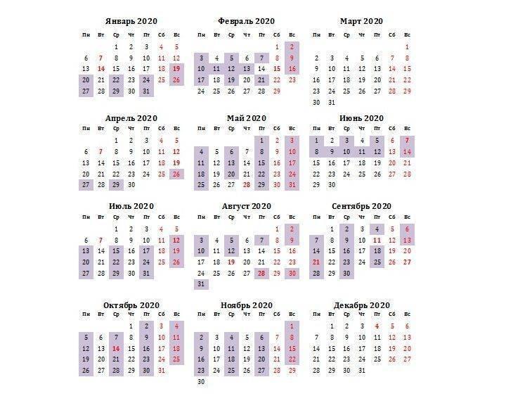 Календарь свадеб и венчаний на 2020 год