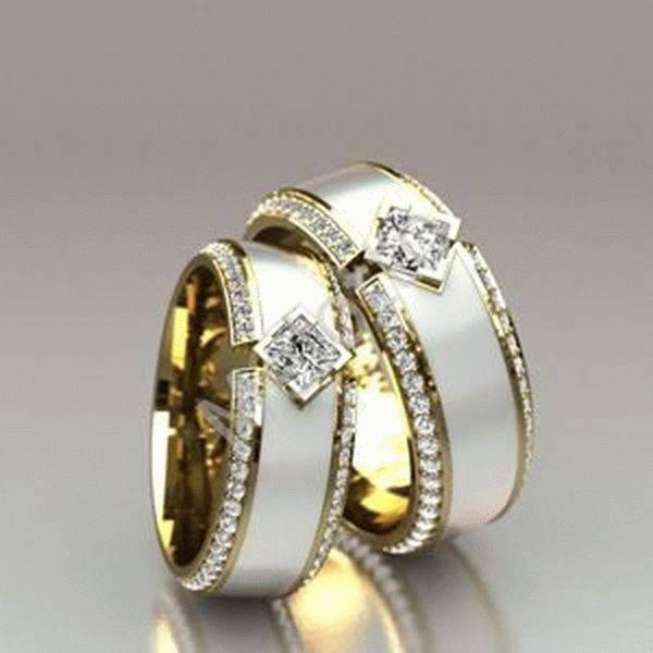Обручальные кольца с камнями (фото)