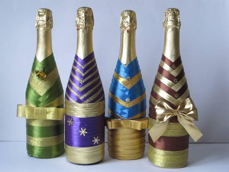 Декор свадебных бутылок шампанского своими руками +50 фото