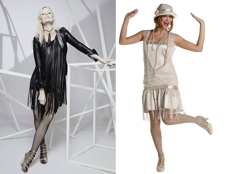 Платье в стиле чикаго: стиль 20х и 30х годов, платье с бахромой (83 фото)