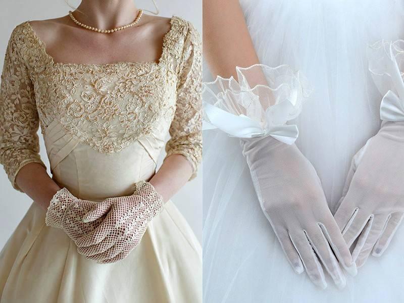 Свадебные перчатки (фото): ажурные, короткие, оперные, без пальцев