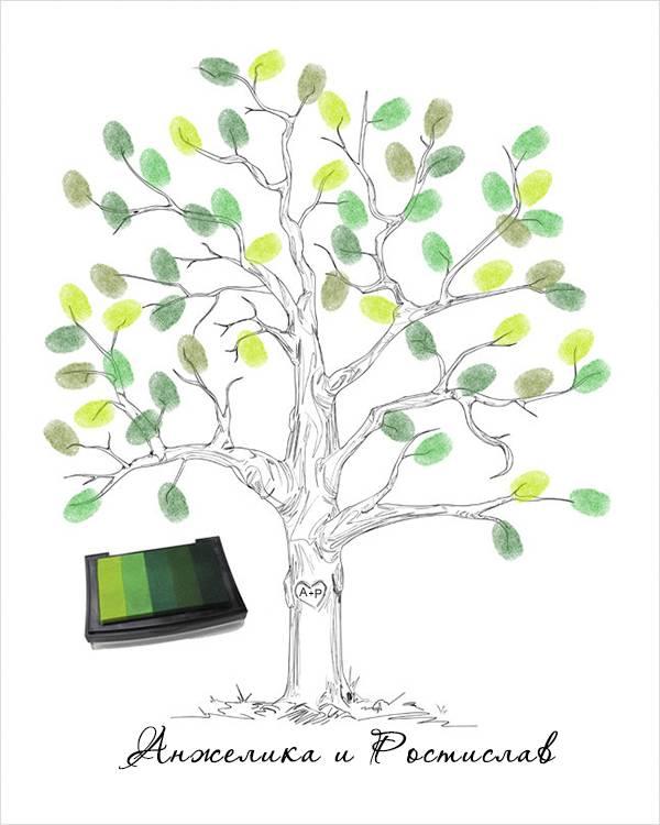 Идеи: дерево пожеланий с отпечатками