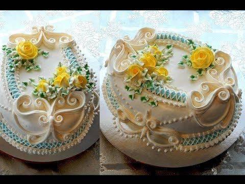 Кремовый свадебный торт (фото)