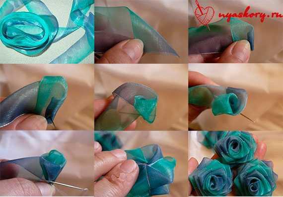 Как сделать цветы из лент своими руками