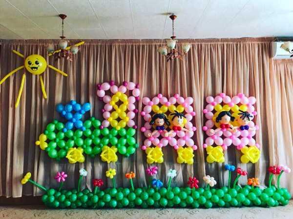 Украшение зала шарами на свадьбу фото