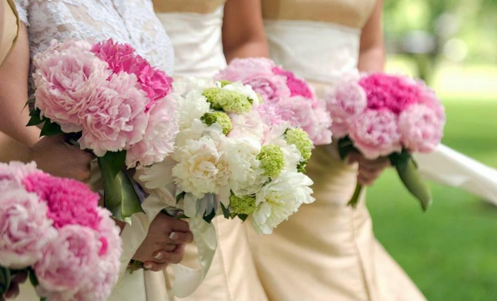 Свадебный букет из пионов  как сделать красивый букет своими руками