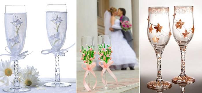 Как сделать свадебные бокалы своими руками?