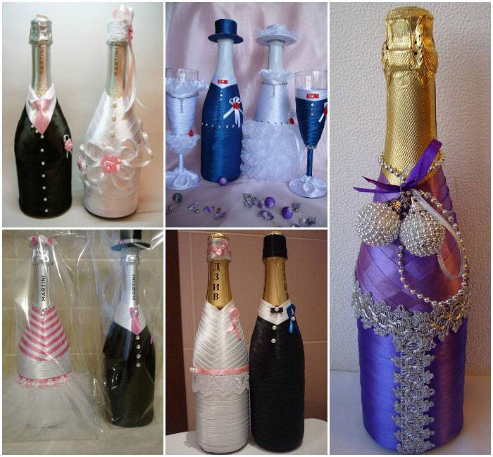 Как украсить бутылку шампанского на свадьбу своими руками?