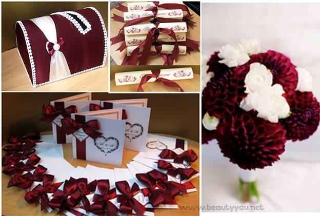 Свадьба в бордовых цветах — от подбора одежды до украшения кортежа + 96 фото