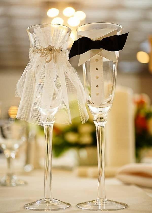 75 оригинальных идей оформления свадебных бокалов с фото