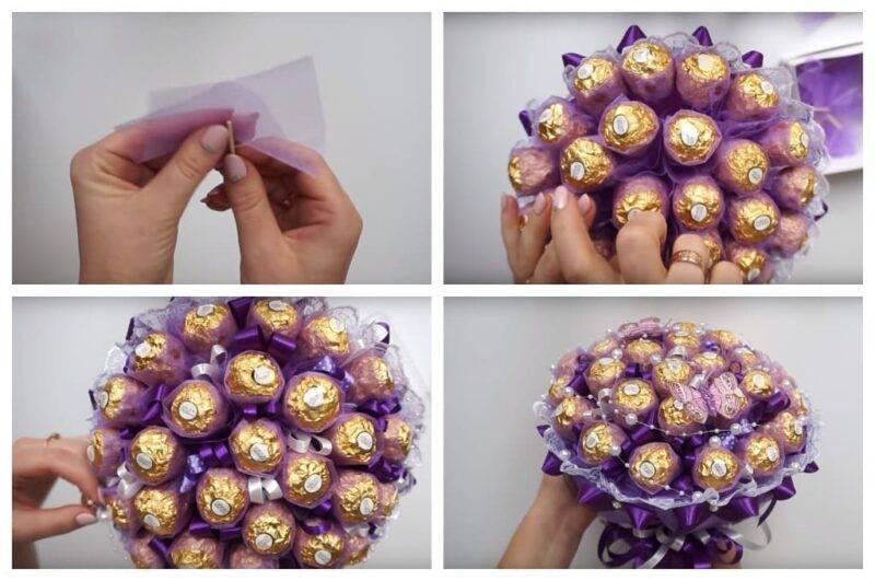 Корзинка с букетом из конфет для молодоженов. мастер-класс с пошаговыми фото