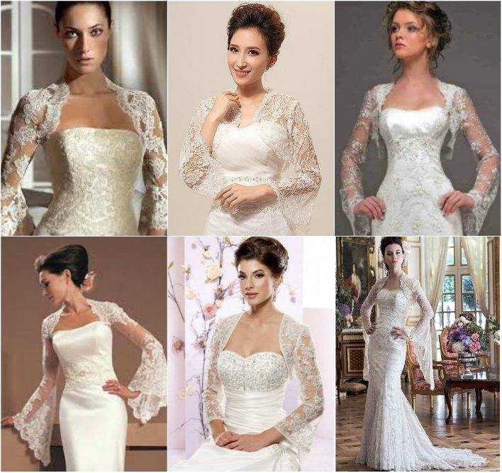 Свадебное болеро на платье для невесты (45 фото):  кружевное, болеро-накидки, с капюшоном, с длинным рукавом, меховое, теплое