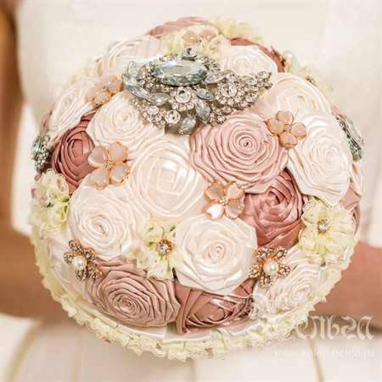 Свадебный букет своими руками  с цветами и лентами