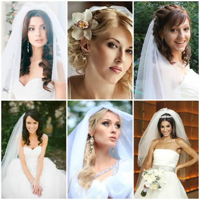Варианты свадебных причесок с фатой