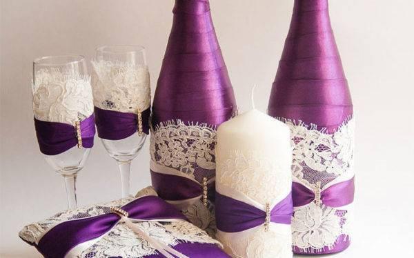 Как украсить бутылки шампанского на свадьбу своими руками: просто и оригинально