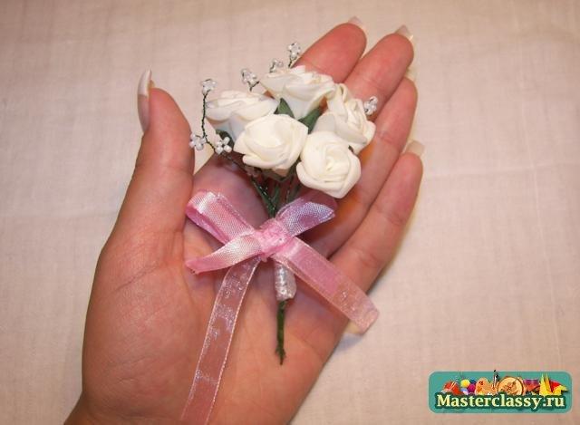 Как создать бутоньерку для жениха на свадьбу своими руками из лент и цветов