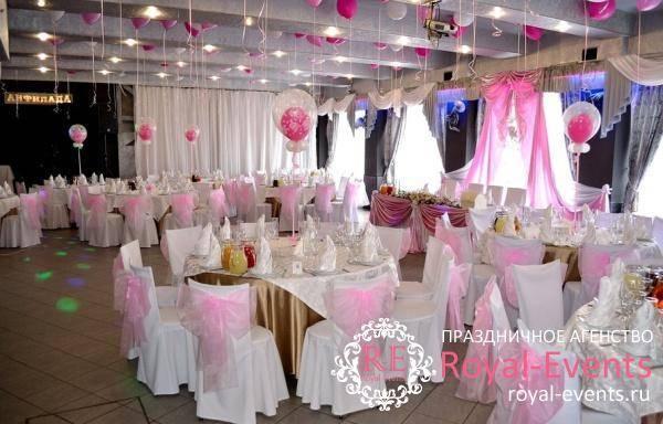 Созадем недорогое оформление зала на свадьбу, украшения для свадьбы из цветов, бумаги или воздушных шаров!