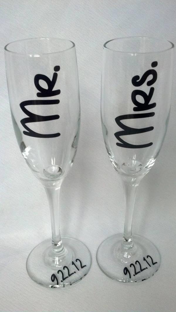 Свадебные бокалы своими руками  оформление фужеров для жениха и невесты, мастер класс