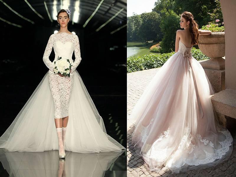 Варианты коротких свадебных платьев с длинным шлейфом