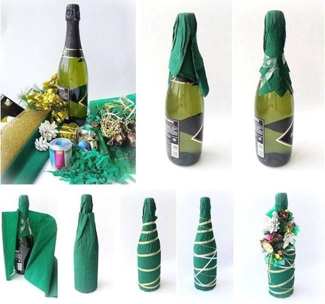 Украшение бутылок на свадьбу (35 фото): мастер-класс по оформлению бутылок шампанского своими руками, идеи декора с лентами, бумагой и кружевом