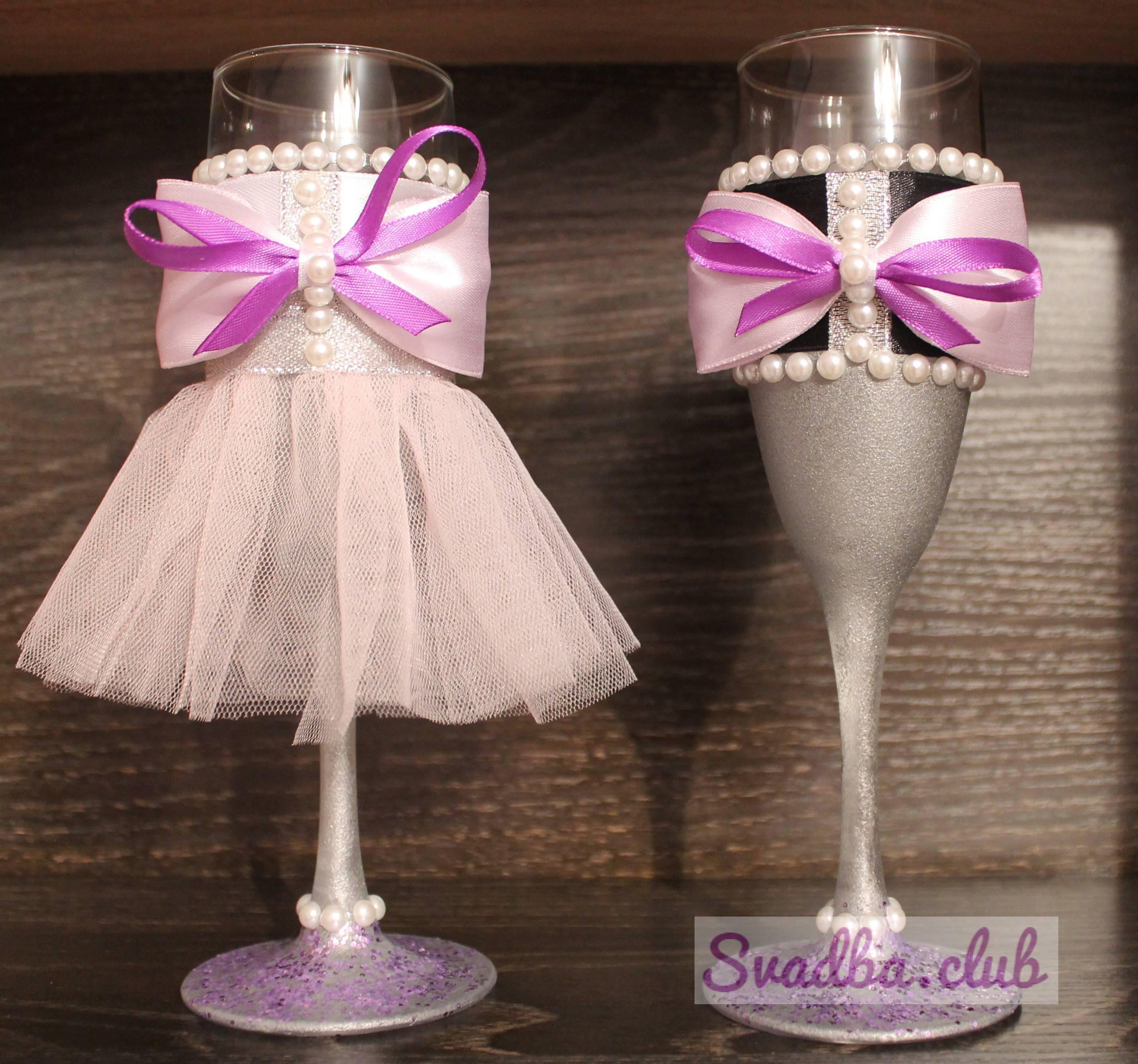 Свадебные бокалы своими руками пошаговое фото  как украсить стаканы для жениха и невесты