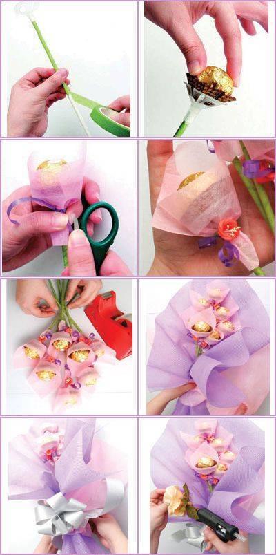 Мастер-класс создания свадебного букета из лент, ткани и конфет